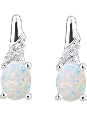 Revoni Witgouden oorstekers met diamanten en opalen