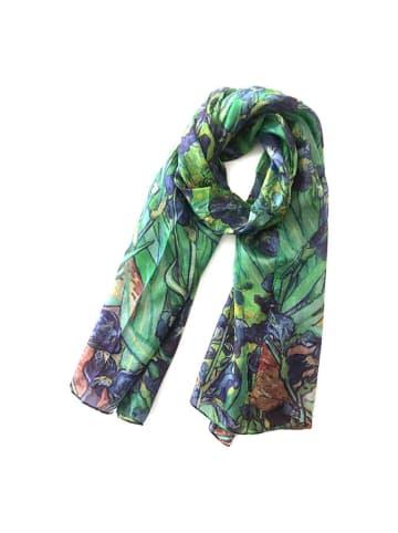 Made in Silk Jedwabny szal w kolorze niebiesko-zielonym ze wzorem - (D)180 x (S)90 cm