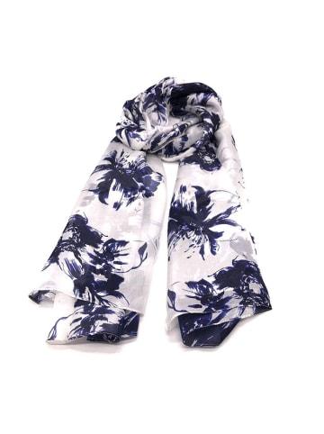 Made in Silk Jedwabny szal w kolorze biało-granatowym ze wzorem - (D)180 x (S)90 cm