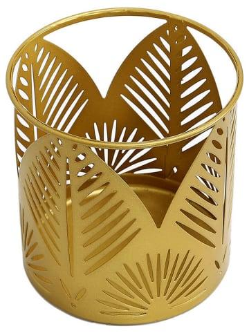 Rétro Chic Windlicht goudkleurig - (H)11,2 x Ø 11 cm