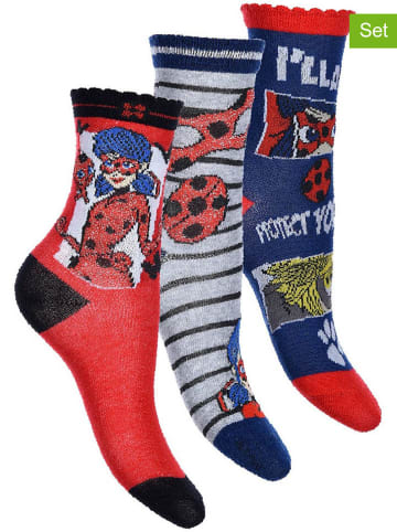 "Miraculous 3er-Set: Socken ""Ladybug"" in Rot/ Grau/ Blau"