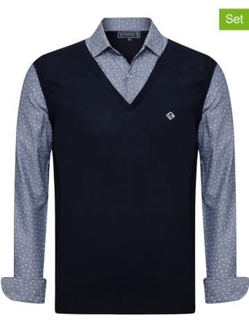 "SIR RAYMOND TAILOR 2-delige outfit: blouse en spencer ""Emilio"" antraciet/grijs"