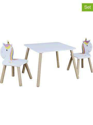 """The Home Deco Kids 3tlg. Set: Sitzgruppe """"Licorne"""" in Weiß"""