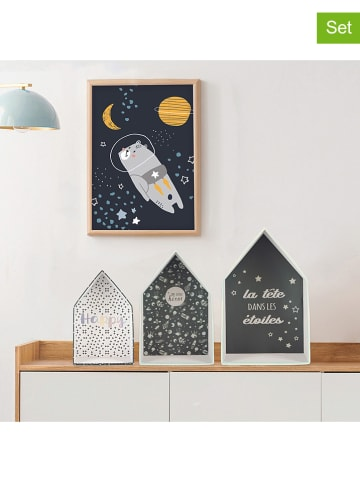 The Home Deco Kids 3er-Set Dekoboxen in Dunkelblau/ Bunt