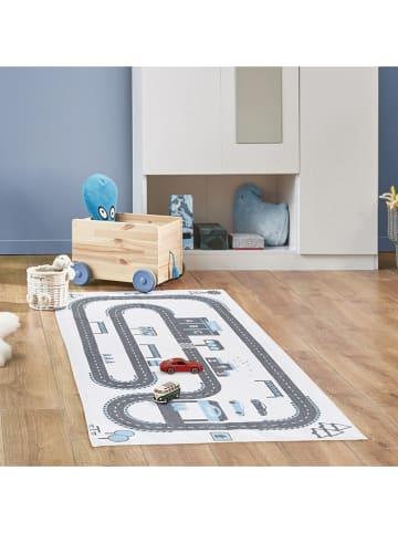 "The Home Deco Kids Katoenen tapijt ""Circuit"" wit/grijs - (L)140 x (B)70 cm"