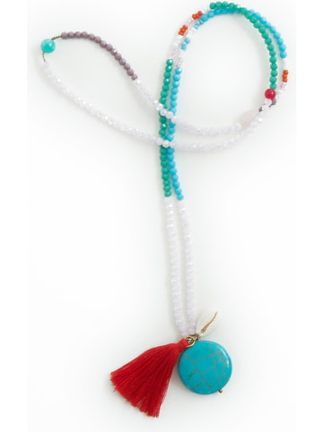 """Overbeck and Friends Ketting """"Salina"""" turquoise/rood - (L)45 cm"""