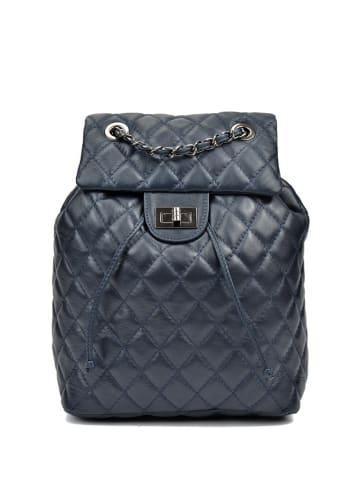 Anna Lucchini Skórzany plecak w kolorze ciemnoniebieskim - (S)32 x (W)33 x (G)13 cm