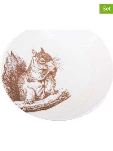 Aulica 6-delige set: dessertborden wit/lichtbruin - Ø 20 cm