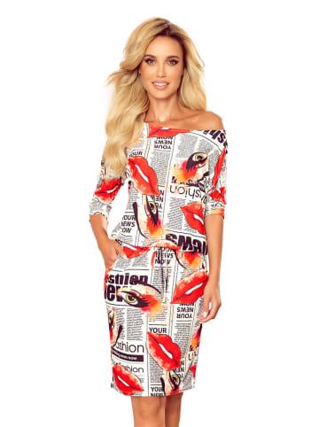 Numoco Sukienka w kolorze biało-czerwonym ze wzorem