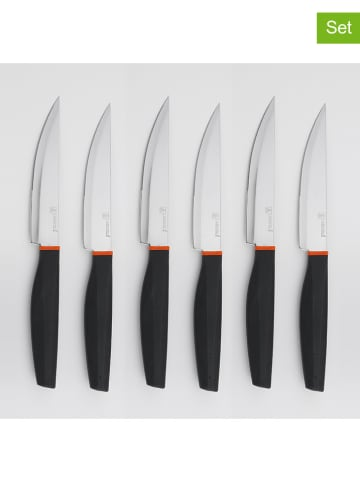 "Laguiole 6-delige set: steakmessen ""Phill"" zwart - (L)23,8 cm"
