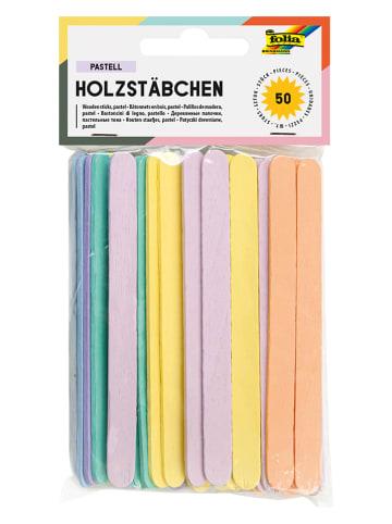 """Folia Houten staafjes """"Pastel"""" meerkleurig - 50 stuks"""