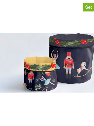 """Really Nice Things 2-delige set: opbergmanden """"Christmas Fairy Tale"""" donkerblauw"""