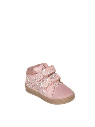 Chetto Skórzane sneakersy w kolorze różowym ze wzorem