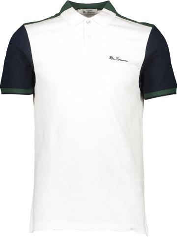 Ben Sherman Poloshirt wit/donkerblauw/groen