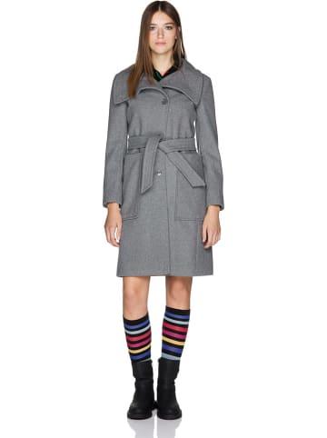 Benetton Wełniany płaszcz w kolorze szarym