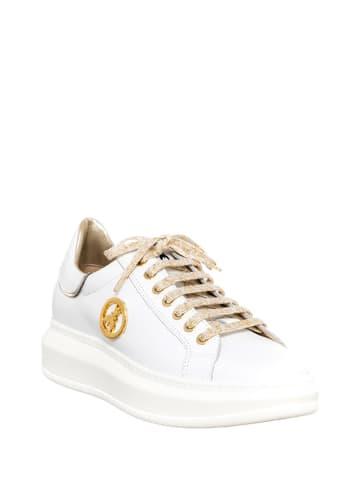 Patrizia Pepe Skórzane sneakersy w kolorze biało-złotym