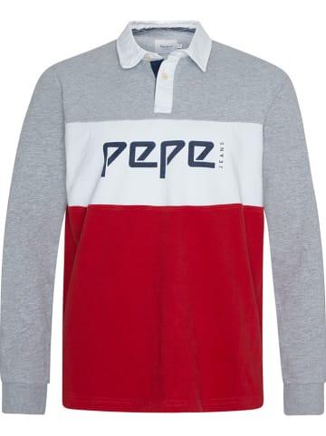 Pepe Jeans Koszulka polo w kolorze szaro-czerwonym