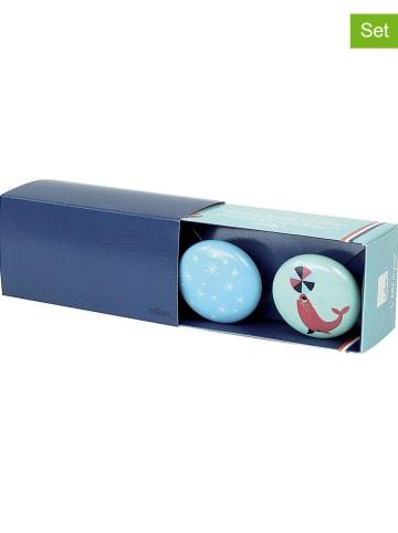 Vilac 2-delige set: wandhaken lichtblauw/mintgroen - Ø 7 cm