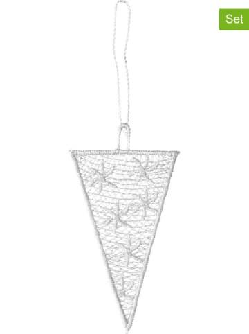 Juna Dekoracyjne zawieszki (3 szt.) w kolorze białym - 4 x 8 cm