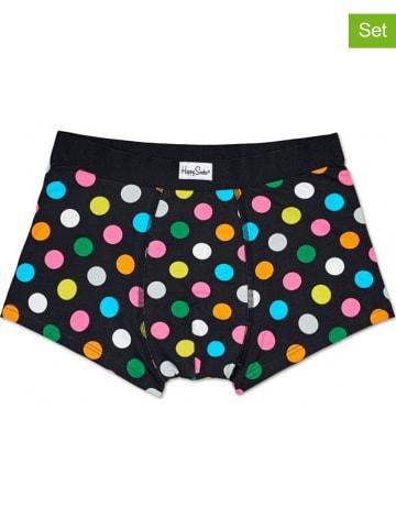 """Happy Socks Bokserki (2 pary) """"Big Dot"""" w kolorze czarnym ze wzorem"""