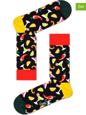 "Happy Socks 2er-Set: Socken ""Drink"" in Schwarz/ Bunt"