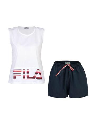 Fila 2-częściowy zestaw w kolorze bialo-granatowym - t-shirt, szorty