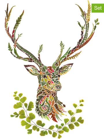 "Ppd 2-delige set: servetten ""Green Deer"" lichtbruin/groen - 2x 20 stuks"