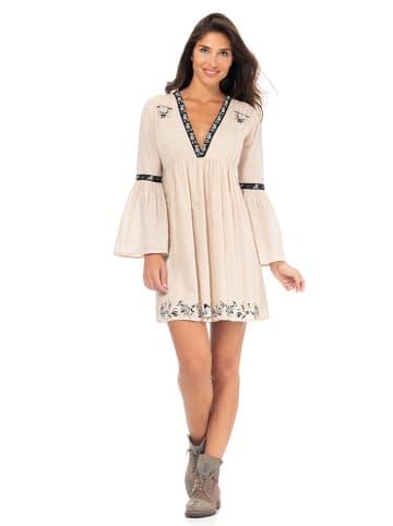 Peace & Love Sukienka w kolorze beżowym