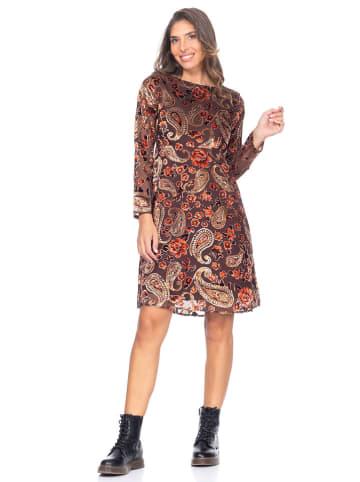 Peace & Love Sukienka w kolorze ciemnobrązowo-beżowym