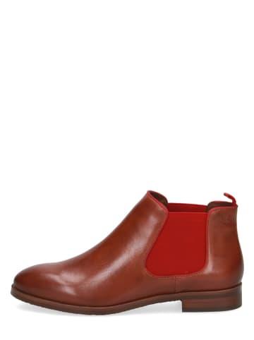 Caprice Leder-Chelsea-Boots in Rot