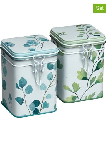"Eigenart 2-delige set: theedozen ""Trees"" groen/lichtblauw - 150 g"