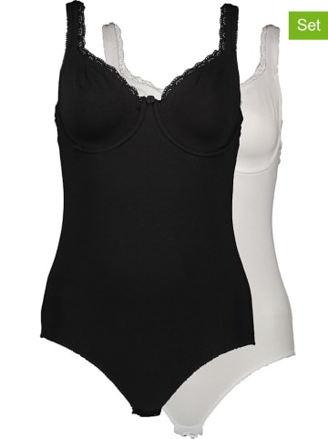 Petit Fleur 2-delige set: body's zwart/wit