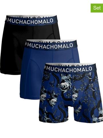 Muchachomalo Bokserki (3 pary) w kolorze niebieskim i czarnym