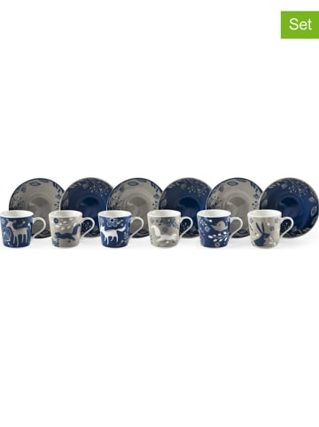 "Trendy Kitchen by EXCÉLSA 6-delige set: espressokoppen ""Suomi"" blauw/taupe - 100 ml"