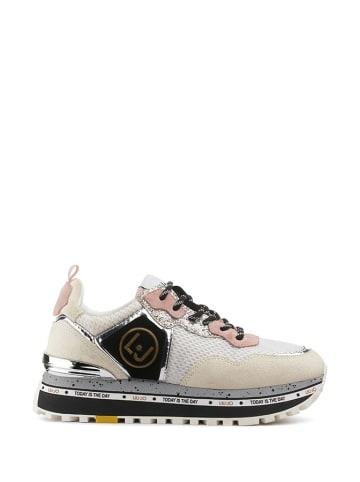 Liu Jo Skórzane sneakersy w kolorze różowo-kremowym