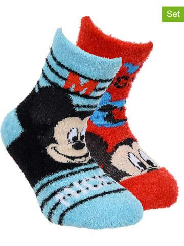 """Disney Mickey Mouse Skarpety (2 pary) """"Mickey Mouse"""" w kolorze błękitnym i czerwonym"""