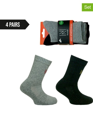 Norfolk 4er-Set: Socken in Grau/ Schwarz