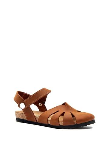 Comfortfusse Leder-Sandalen in Braun