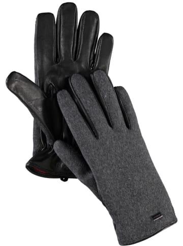 Strellson Skórzane rękawiczki w kolorze antracytowo-czarnym