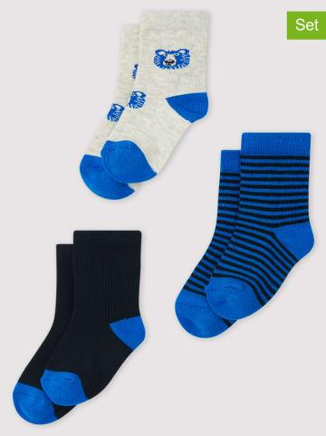 PETIT BATEAU 3-delige set: sokken blauw
