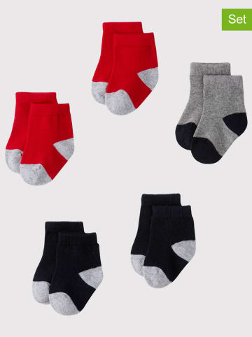 PETIT BATEAU 5-delige set: babysokken grijs/rood/donkerblauw