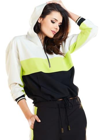 Awama Bluza w kolorze biało-limonkowo-czarnym