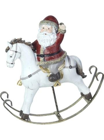"Signes Grimalt Dekofigur ""Santa riding a horse"" in Weiß/ Rot - (B)21,5 x (H)21 cm"