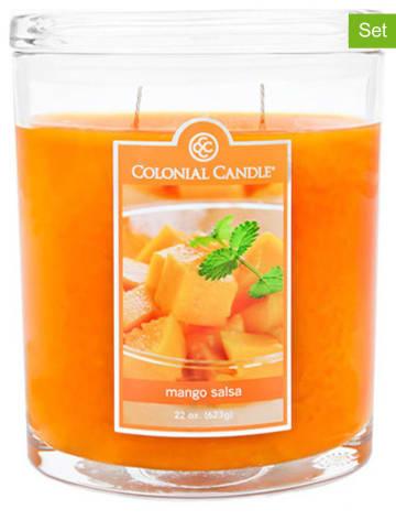 "Colonial Candle 2-delige set: geurkaarsen ""Mango Salsa"" oranje - 2x 226 g"