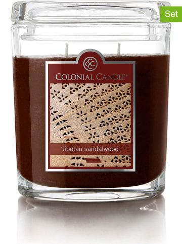 """Colonial Candle 2-delige set: geurkaarsen """"Tibetan Sandalwood"""" bruin - 2x 226 g"""