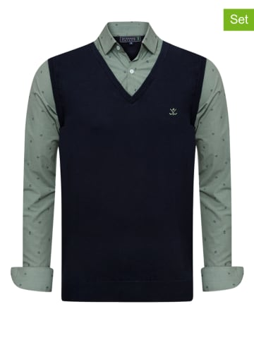 """SIR RAYMOND TAILOR 2-delige outfit: spencer en blouse """"Sancho"""" donkerblauw/groen"""