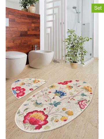 """Colourful Cotton Dywaniki łazienkowe (2 szt.) """"Arya"""" w kolorze beżowym ze wzorem"""