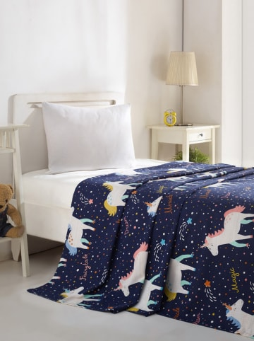 "Colourful Cotton Sprei ""Magic Unicorn"" blauw"
