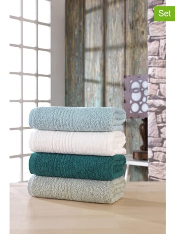 """Colourful Cotton 4-delige set: handdoeken """"Martin"""" lichtblauw/groen/wit"""