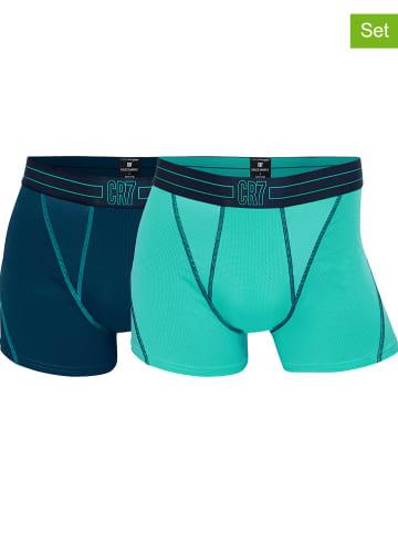 CR7 2-delige set: boxershorts donkerblauw/turquoise
